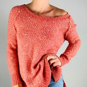 FREE PEOPLE Wool Cotton Pink Scoop Neck Sweater S